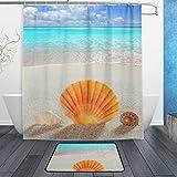 JSTEL Sand-(3-teilig Badezimmer Set, waschbar, für den täglichen Gebrauch, 60x 40cm, wasserdicht, mit 12Haken, Anti-Rutsch-Teppich-Set
