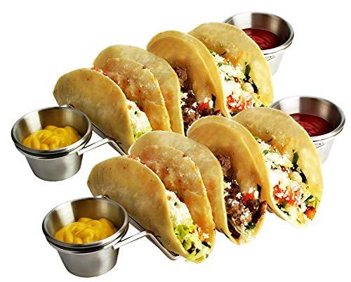 Premium Taco Halter Ständer Rack 2 Pack Bundle mit 4 Soßenbechern, Edelstahl stapelbar Taco Ständer für Soft- und Hardshell-Taco, Backofen, Grill, spülmaschinenfest