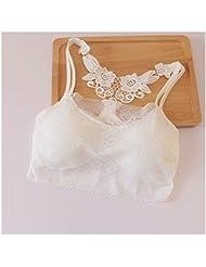 Distinct® Encajes de mujer acolchada ropa interior Bra cultivo superior Gimnasio Fitness chaleco tanques ocio (blanco)