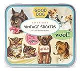 Inspirés & chien chat Stickers décoratifs - Fabriqué par Cavallini Co & - Tin-size : 14 cm x 12 cm x 1 cm - Contient plus de 100-stickers Décoratifs-Autocollants