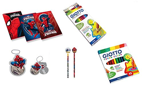 Irpot - kit scuola spiderman 2 quaderni i ii elementare pennarelli giotto pastelli penna temperamatite