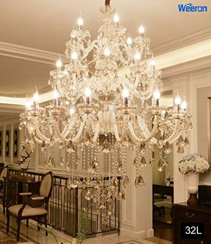 Lampe Licht Kronleuchter (Wenrun Lighting E14 LED Treppen Hotel Lobby Villa 24-armig Ø120cm Champagner K9 Kristall Kerze Kristall Lampe Kronleuchter Deckenlampen Hängelampe Lüster Leuchte Lampe Licht)