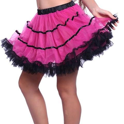 Antike Zukunft der 1980er Jahre Vintage Retro gekräuselte überlagerte Striped Tulle Rara Partei Tutu Röcke Abendkleid (Hot Pink /