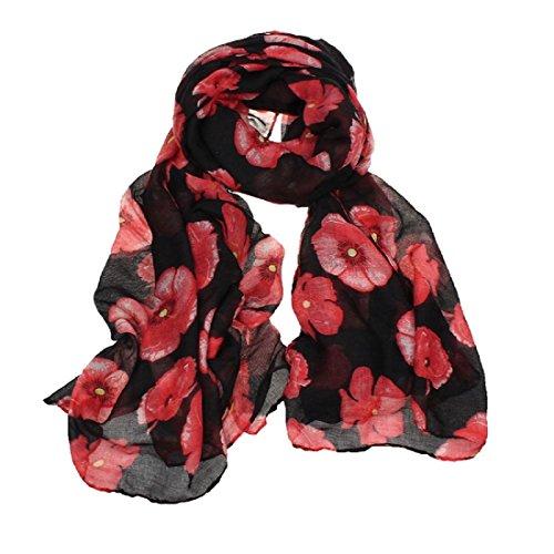 Amlaiworld Femmes Foulard rouge coquelicot fleur Wrap châle, 100cm*180cm (Noir)