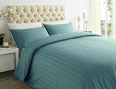 Sapphire Collection 100% Stripe TC400 Egyptian Cotton Duvet Quilt Cover Pillow Cases All Sizes (Double,