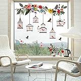 Qqasd Blume Vogelkäfig Wandaufkleber Wohnkultur Abnehmbare Wohnzimmer Schlafzimmer Fenster Wandtattoos 66X70 Cm