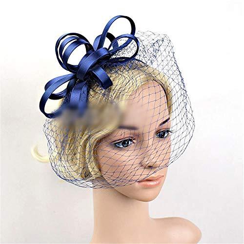 KERVINFENDRIYUN YY4 Mesh Braut Tiara Haarspange/Stirnband Hut Feder Retro kleinen Zylinder (Farbe : Marine) (Blues Kostüm Marine Kleid)