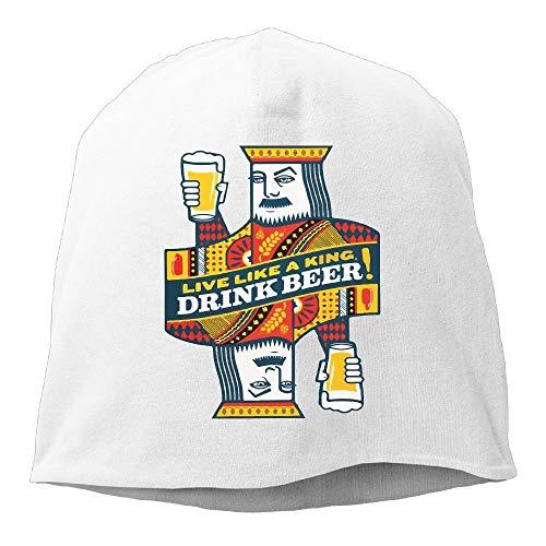 Wdskbg Mens&Womens Poker King Beer Beanie Cap, Slouchy Hip-hop Knitted Hat ()