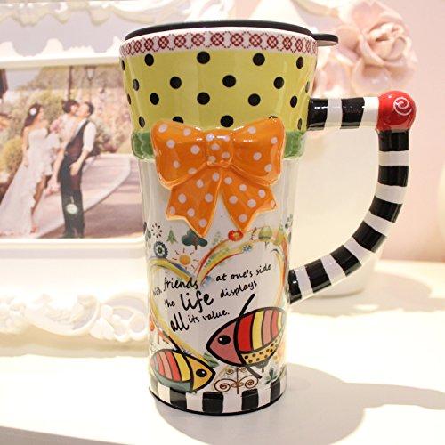 Tasse mit Deckel Riemen Löffel Keramiktasse kreatives Paar Tassen bemalt Kaffeetasse, [2232] ()