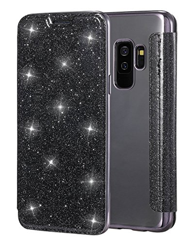 Snewill Compatible Galaxy S9 Hülle,S9 Case,Glitter Shiny Bling Slim PU Leather Folio Flip Handyhülle with Card Slot & Clear Soft TPU Back Cover Schutzhülle für Samsung Galaxy S9 -Bling Black Flip Folio Case