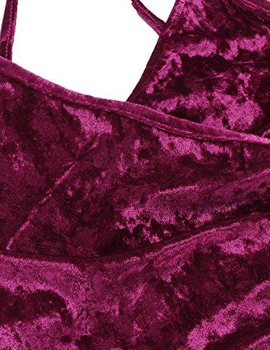 ZEARO Damen Partykleider Sexy Cocktail Bodycon Bleistift Midi Kleider Wein-Rot