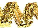 Stretch-Pailletten, Paillettenband, Paillettenborte elastisch, breite 30mm, Verkaufseinheit: 1m (gold)