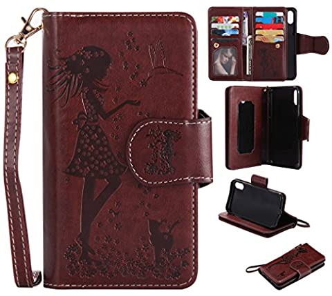 iphone 8 Case Leather [Cash and 9 Card Slots], Cozy Hut Elegant Woman and Cat Patterned Embossing PU Leather Stand Function Protective Cases Covers with Card Slot Holder Wallet Book Design Fordable Strap Case for Apple iphone 8 5,8 Inch -