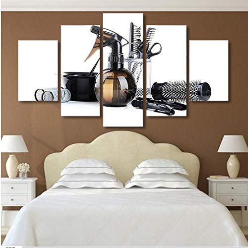 hhlwl 5 stück Gedruckt schwarz friseurwerkzeuge schere kamm Malerei Leinwand wohnzimmer dekor wandkunst leinwanddrucke-30x40/60/80cm-no frame
