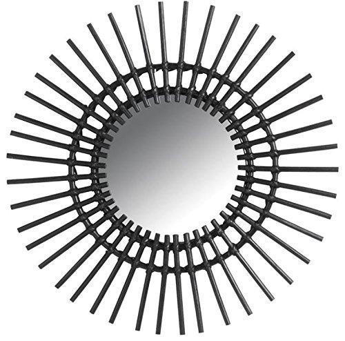 Aubry-Gaspard-Espejo-de-pared-dimetro-de-60-cm-diseo-de-sol-grande-de-mimbre-color-negro