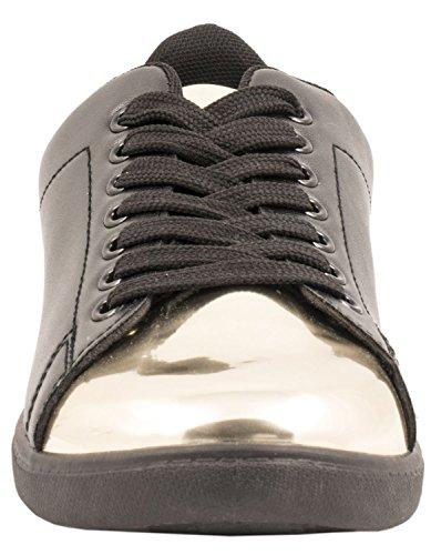 Elara Trendige Unisex Sneaker |Damen Kult Sport Laufschuhe | Turnschuhe Black-Gold