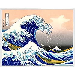 1art1® Katsushika Hokusai Póster Impresión Artística con Marco (Plástico) - La Gran Ola De Kanagawa (50 x 40cm)