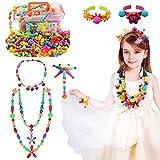 Niños Joyería Snap Pop Beads DIY Kit Pulsera Anillo de Collar Juguetes Regalos de Cumpleaños de Juguetes para 4,5,6,7,8 Niños Niñas