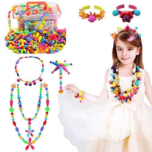 Kinder Pop Perlen Geschenkset Schmuckset 485 Stück drahtlose Perlen Schmuck Halskette Armband Ringe DIY Pädagogisches Spielzeug für Mädchen 3+ Geburtstag Kindertag Geschenk Set mit Box(485)
