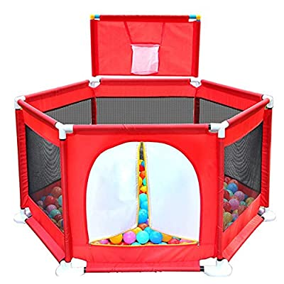 Playpens Portable Baby Fence with Balls, Kids Activity Center Indoor Outdoor Safety Playard, Heigh 66cm (color : Red)