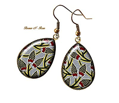 Boucles d'oreilles gouttes Fleurs africain tissu wax motifs Ethniques gris rouge