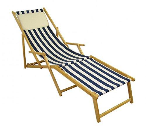 Erst-Holz Strandliege blau-weiß Liegestuhl Holzliege Buche Natur Fußteil Kissen klappbar 10-317 N F KH - Buche Klassisch Natur