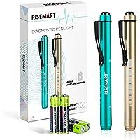 Diagnostikleuchte Medizinische Pupillenleuchte, RISEMART 2 Stück Wiederverwendbare LED Stiftlampe mit Taschenclip alsr Krankenschwestern Ärzte Schüler Stiftlicht