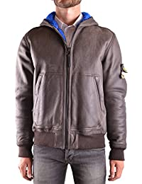 Stone Island Men's MCBI284045O Brown Leather Outerwear Jacket