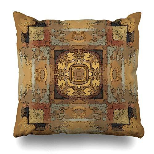 Satz von 4 Throw Pillow Cover Square 18 x 18 Zoll Frame braun afrikanischen östlichen Muster abstrakt Vintage alte arabische asiatische Grenze Rosette Kissen Fall Home Decor Kissenbezug -
