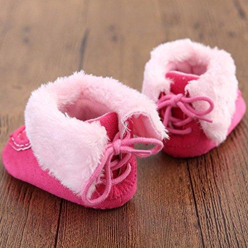 BZLine® Baby Schneestiefel weiche Sohle weiche Krippe Schuhe Winterstiefel Hot Pink