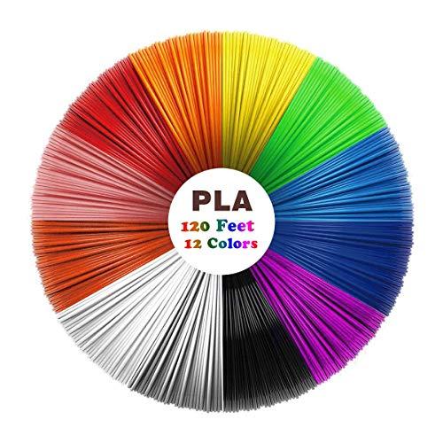 Uzone Filamento Penna 3D, Filamento PLA 12 Colori, 1.75 mm 10 Piedi per Un Totale di 120 Piedi. Niente Bolle, Nessun Odore. 3D Printing Creative Hobbies.