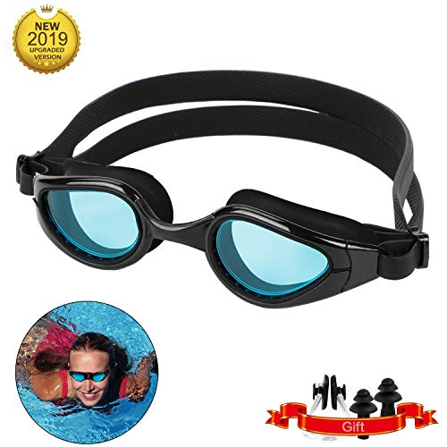 Lyeiaa Schwimmbrillen für Erwachsene, Schwimmbrille Herren & Frauen, mit Ohrstöpsel & Nasenklammern, Harte Gläser, UV-Schutz, Anti-Fog, Strahlenschutz, Sonnenschutzindex bei 400+