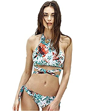 Moderno y cómodo bikini _ bañador split cruz sello doble cara, doble cara ,M blanco verde