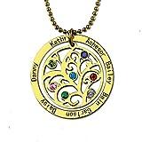 Bokning Runde Stammbaum Anhänger Halskette mit 7 Namen und Birthstone für Frau Mutter Liebhaber Personalisiert