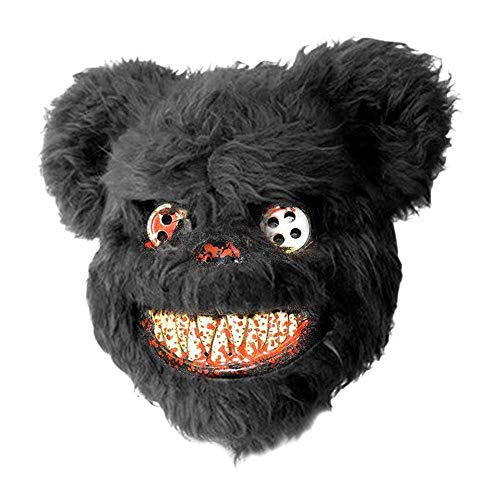 IENPAJNEPQN Lustige schreckliche bär Gesichtsmaske Horror Halloween Cosplay Partei Maskerade Tier Masken (Color : Black) (Schreckliche Kostüm Bilder)