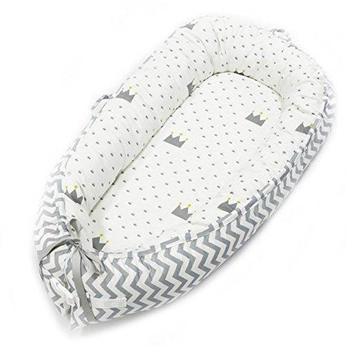 Cypressen Baby nestchen beistellbett wickelauflage, Babybette Bett Waschbar Kinderbett aus Baumwolle Portable Reisebett Weiche und Atmungsaktive 80cm x 50cmx10cm Neugeborene Bassinet(0-24 Monate)