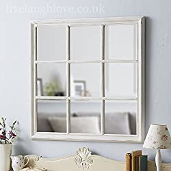 Live Laugh Love Painted Wooden Square Window Mirror - Antique White