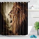 Tenda da doccia animale Leone ruggente contro il cielo tempestoso Tessuto in poliestere decorato Tende da bagno Impermeabile Anti-muffa Arredamento da bagno Accessori per la casa con 12 ganci per tende 180x200cm