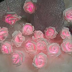 Lichterkette 20 stücke LED Rosa Fee Simulation Rose Blume LED Kette Batteriebetriebene Weihnachten Hochzeit Indoor Party