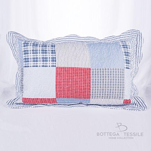 Coppia di Guanciali con Federe per complementi d'arredo per interni,divano,letto,giardino mod. GATSBY PATCHWORK - Completo di Imbottitura misura 50 x 80 cm