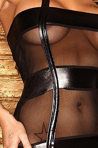 Noir Handmade Clubwear erotisches Damen-Strapskleid aus Tüll und Wetlook Reizwäsche Schwarz