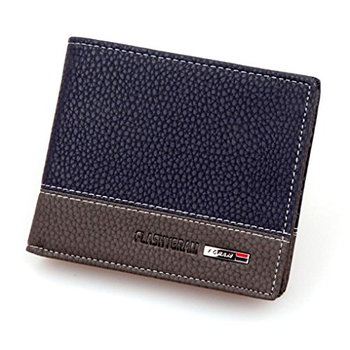 carpeta de los hombres, FEITONG Money Card plegable para hombre de cuero titular de la cartera bolsillos monedero embrague (Azul)