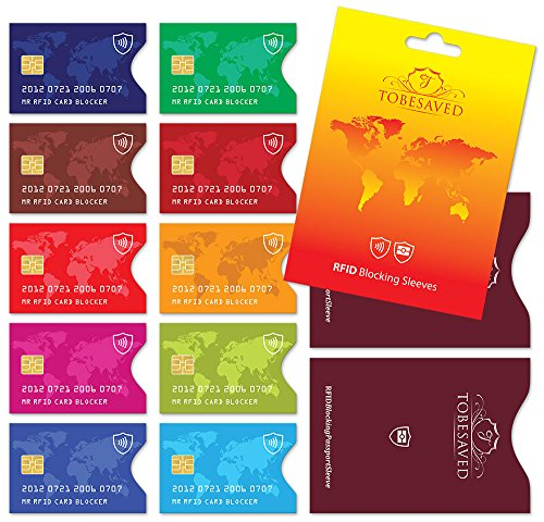 Preisvergleich Produktbild Tobesaved 12 Stück RFID Schutzhüllen - 10 x Kreditkarte + 2 x Reisepass
