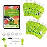 ツ Smile&Green - Sacchetti per Alimenti Riutilizzabili per Bambini Set di 10 Pezzi Porta Pappa da Viaggio Eco Senza BPA, Richiudibili, Ermetici - Bustine Cibo Lavabili - Con 5 Accessori