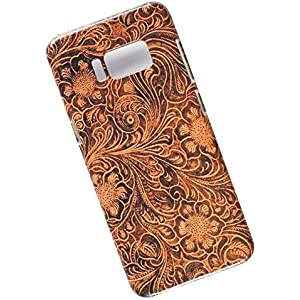 Samsung Galaxy S8 Protective Slim Case. Tasche Cover. Tooled Leather Pattern.