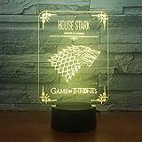 Decoración para el hogar Juego de tronos Casa Stark Wolf Dragon Acrílico Lámpara de noche 3D Luz led con cambio de 7 colores