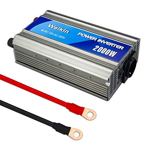 weikin Spannungswandler 2000W Wechselrichter DC 12V zu AC 220V Steckdose nach europäischem Standard, sowohl im Auto als auch zu Hause (12 Volt Zu Ac Inverter)