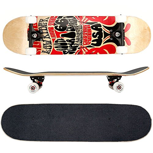 FunTomia Skateboard mit MACH1 ABEC-11 Kugellager und Rillen-Profil Rollen (Rollenhärte 100A) aus 100% 7-lagigem kanadischem Ahornholz (Es stehen verschiedene Farbdesigns zur auswahl) (Route 66)