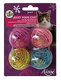 Aime Katzenspielzeug Ball mit Klingel, 4 Stück