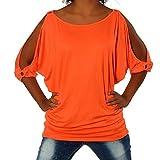 G305 Damen Shirt Tunika Bluse Pullover T-Shirt Tank Top Minikleid, Farben:Orange;Größen:Einheitsgröße